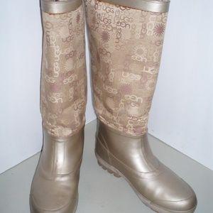 UGG  Bronze Rubber/Signature Fabric Rain Boots